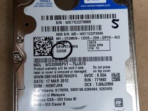 320gb WD 2.5 Sata Hard Drive