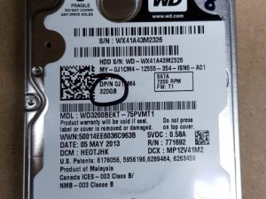 320gb WD Black 2.5 Sata Hard Drive
